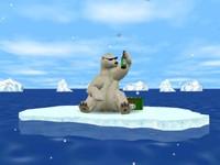 Animated polar bear does not only listen and drink but dances and asks for beer